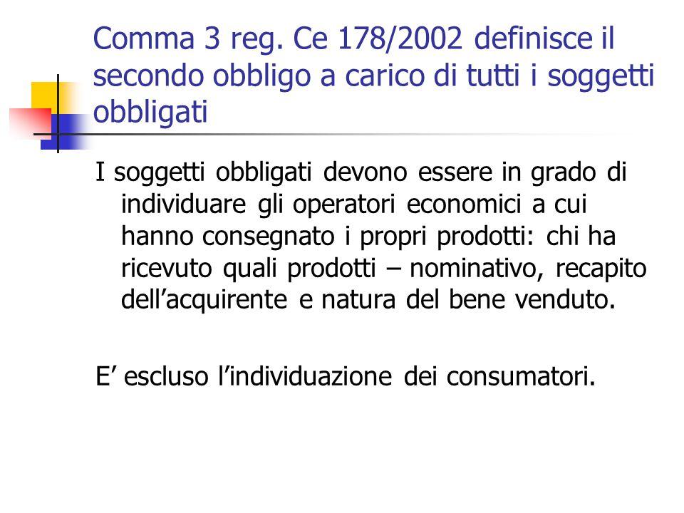 Comma 3 reg. Ce 178/2002 definisce il secondo obbligo a carico di tutti i soggetti obbligati