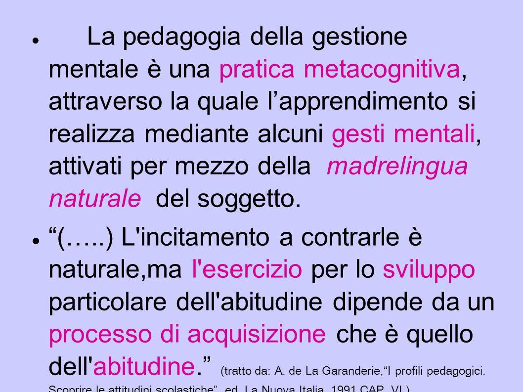 La pedagogia della gestione mentale è una pratica metacognitiva, attraverso la quale l'apprendimento si realizza mediante alcuni gesti mentali, attivati per mezzo della madrelingua naturale del soggetto.