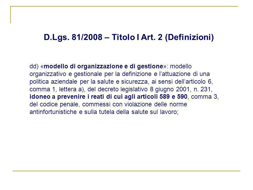 D.Lgs. 81/2008 – Titolo I Art. 2 (Definizioni)