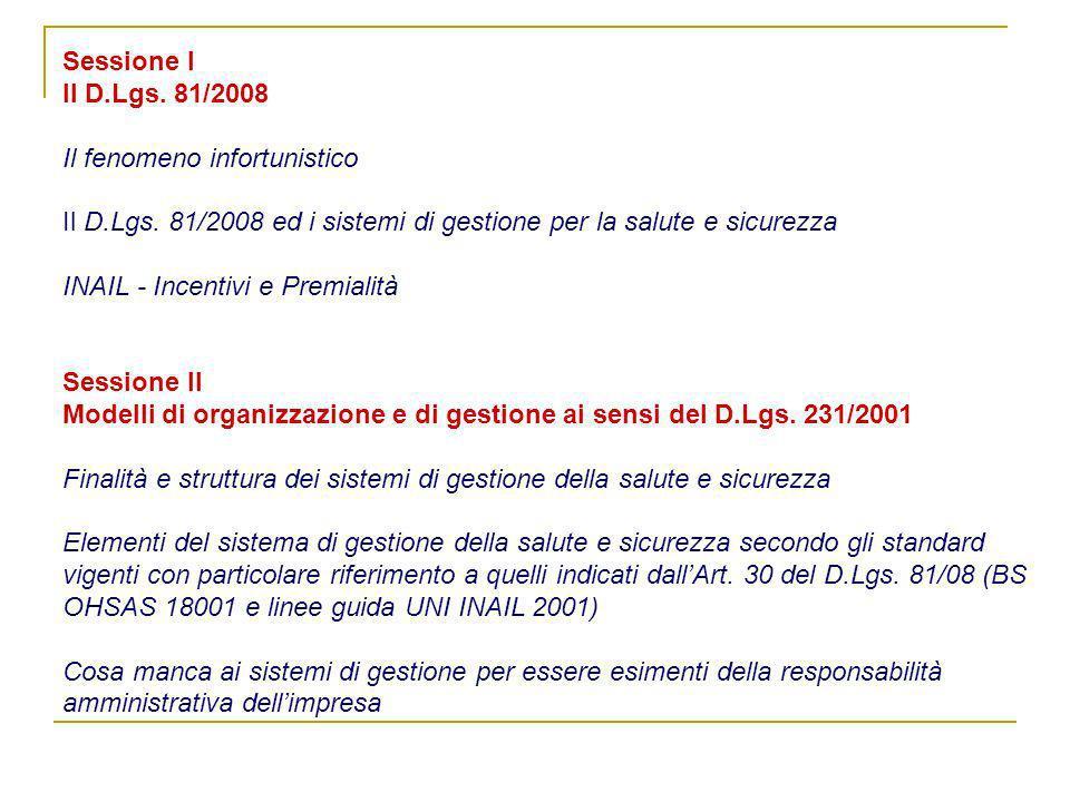 Sessione I Il D. Lgs. 81/2008 Il fenomeno infortunistico Il D. Lgs