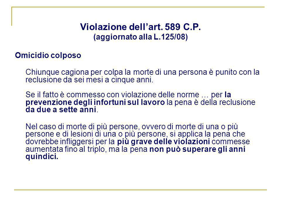 Violazione dell'art. 589 C.P. (aggiornato alla L.125/08)