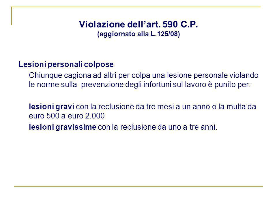 Violazione dell'art. 590 C.P. (aggiornato alla L.125/08)