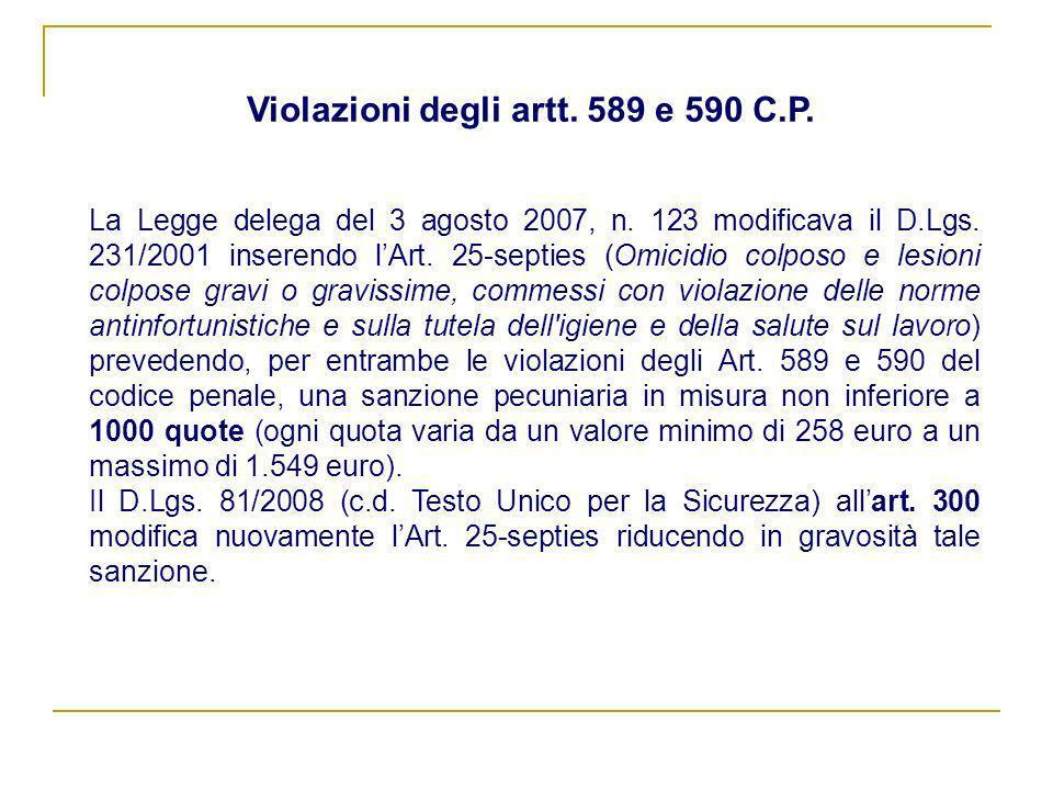 Violazioni degli artt. 589 e 590 C.P.