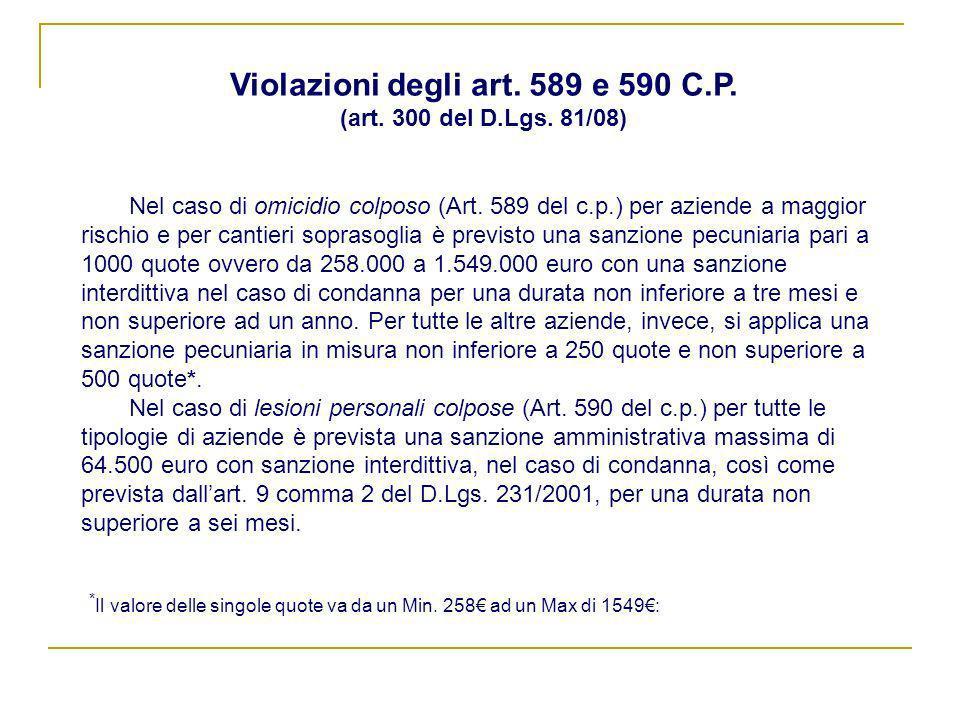 Violazioni degli art. 589 e 590 C.P. (art. 300 del D.Lgs. 81/08)