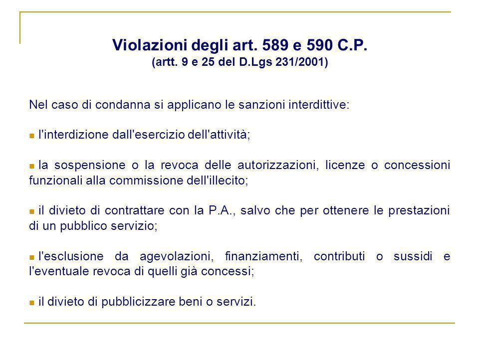 Violazioni degli art. 589 e 590 C.P. (artt. 9 e 25 del D.Lgs 231/2001)