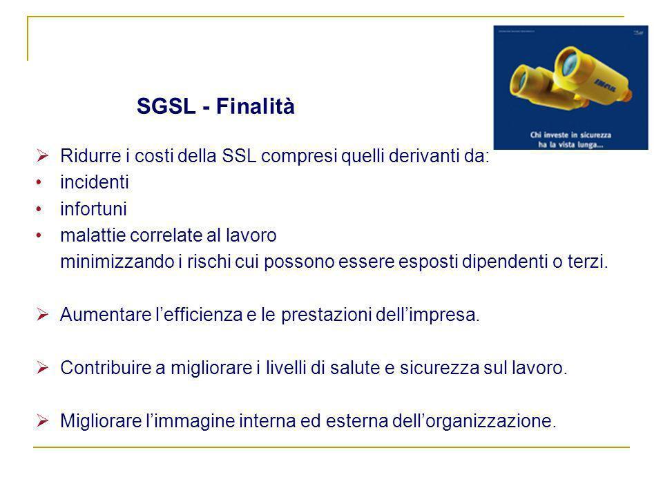 SGSL - Finalità Ridurre i costi della SSL compresi quelli derivanti da: incidenti. infortuni. malattie correlate al lavoro.