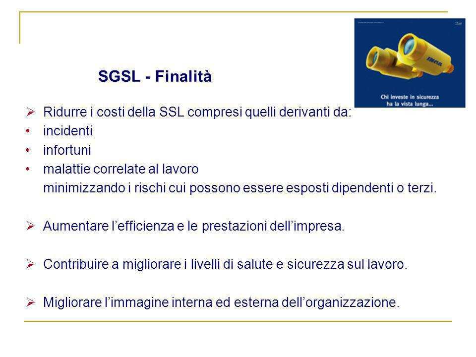 SGSL - FinalitàRidurre i costi della SSL compresi quelli derivanti da: incidenti. infortuni. malattie correlate al lavoro.