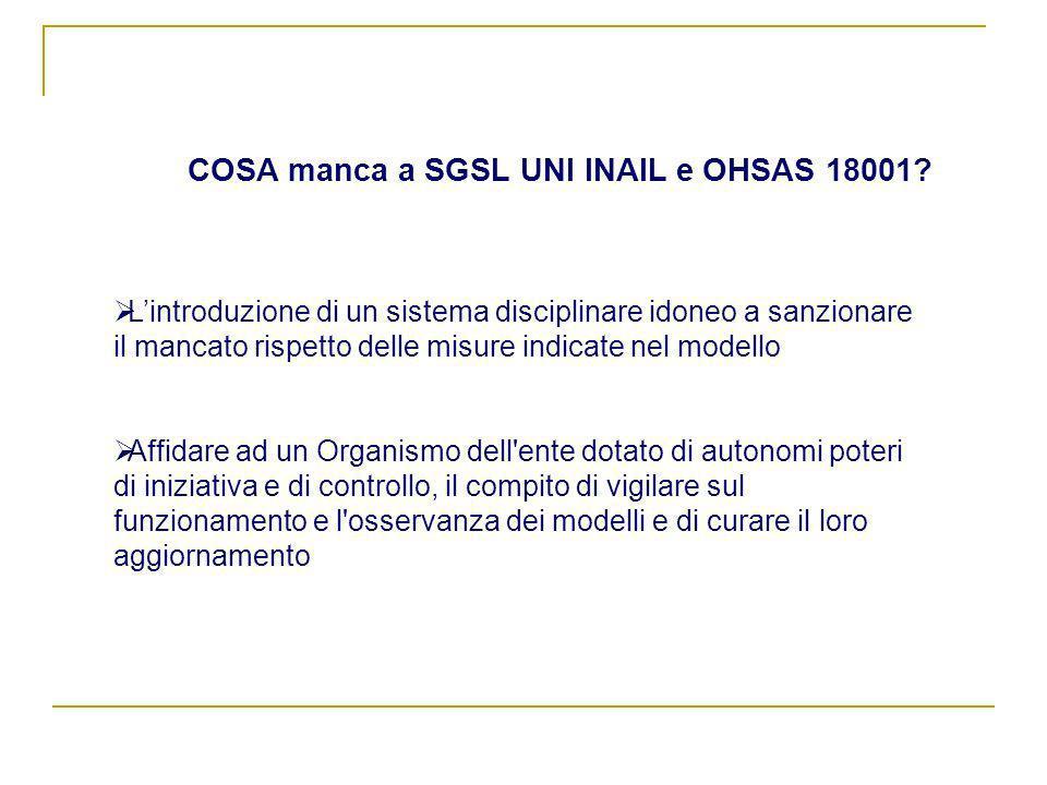 COSA manca a SGSL UNI INAIL e OHSAS 18001