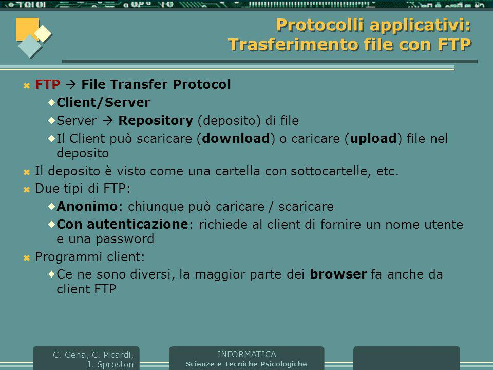 Protocolli applicativi: Trasferimento file con FTP