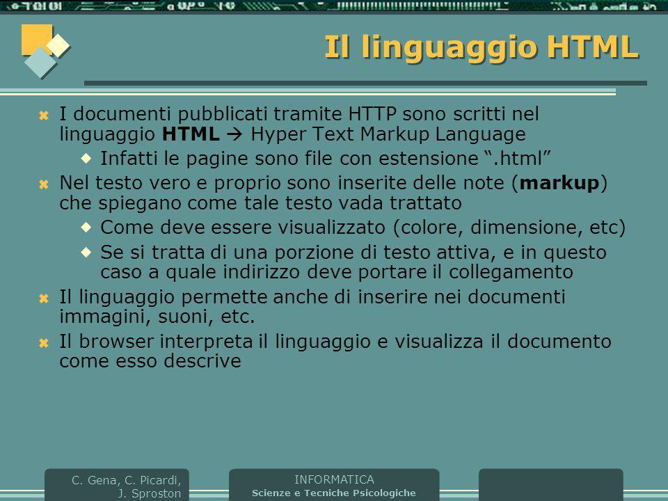 Il linguaggio HTML I documenti pubblicati tramite HTTP sono scritti nel linguaggio HTML  Hyper Text Markup Language.