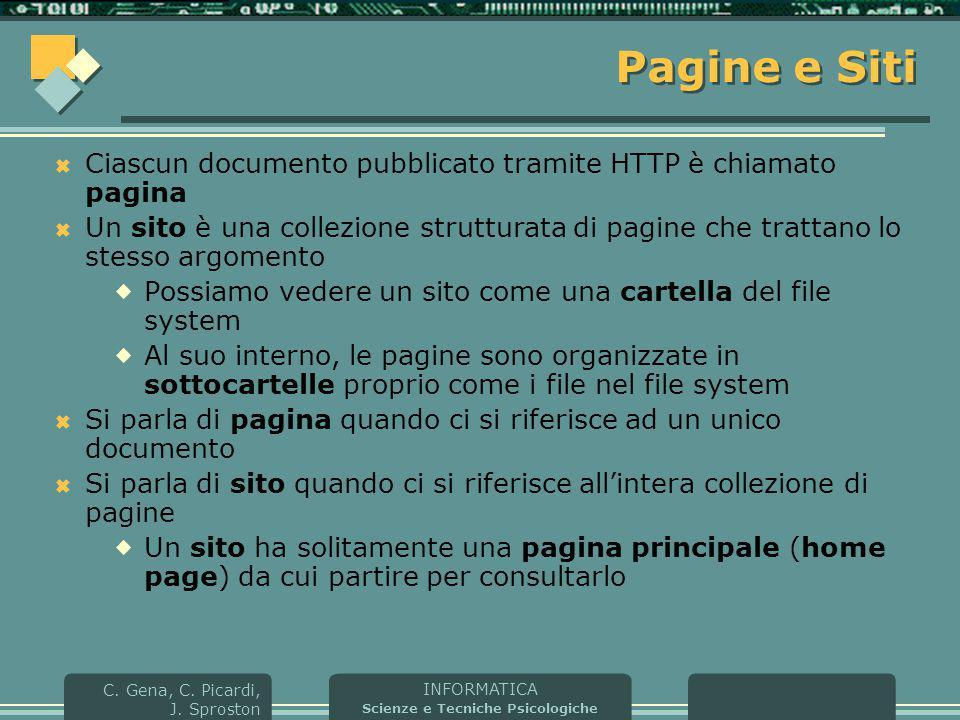 Pagine e Siti Ciascun documento pubblicato tramite HTTP è chiamato pagina.