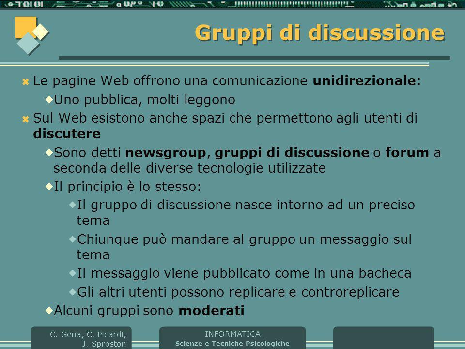 Gruppi di discussione Le pagine Web offrono una comunicazione unidirezionale: Uno pubblica, molti leggono.
