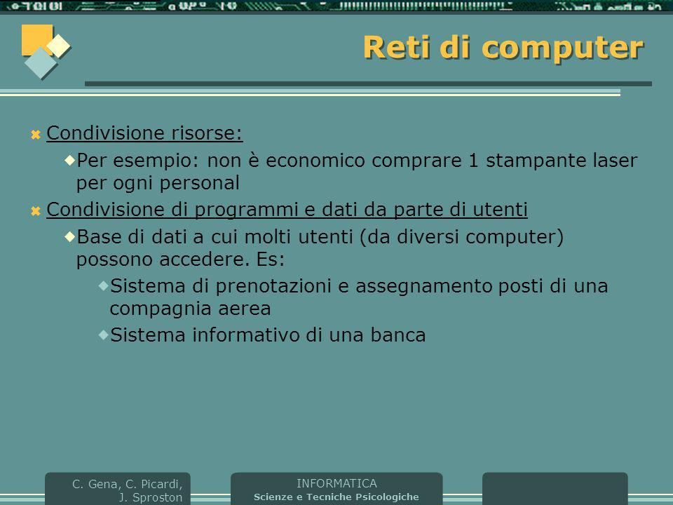 Reti di computer Condivisione risorse: