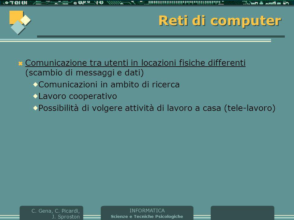 Reti di computer Comunicazione tra utenti in locazioni fisiche differenti (scambio di messaggi e dati)