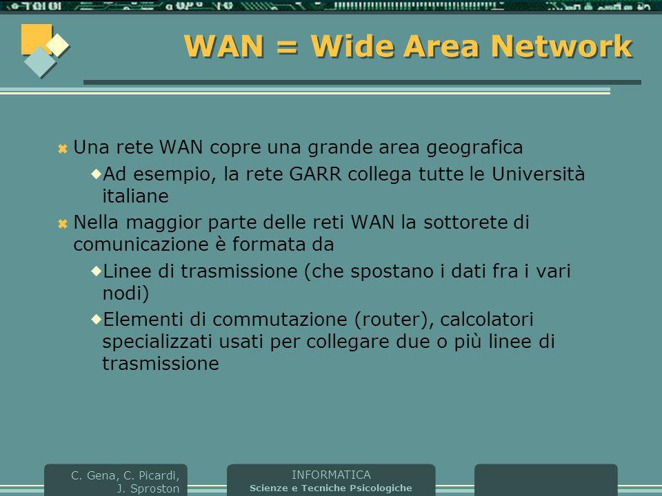 WAN = Wide Area Network Una rete WAN copre una grande area geografica