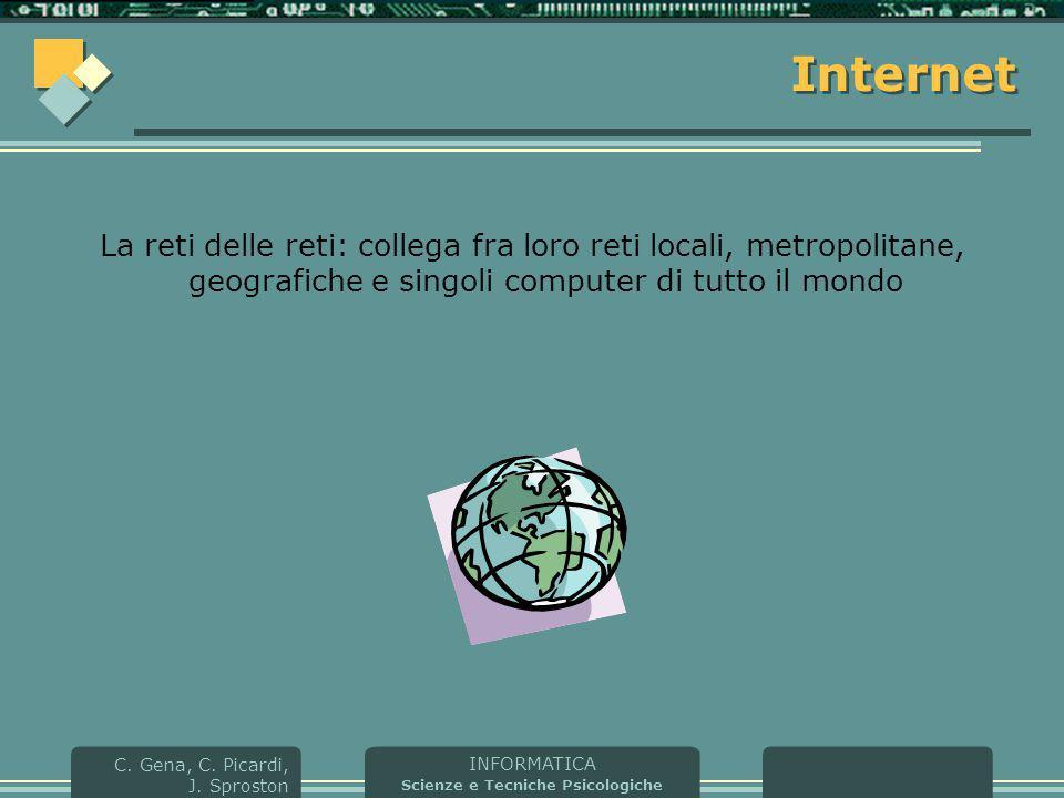 Internet La reti delle reti: collega fra loro reti locali, metropolitane, geografiche e singoli computer di tutto il mondo.