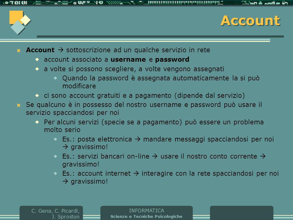 Account Account  sottoscrizione ad un qualche servizio in rete