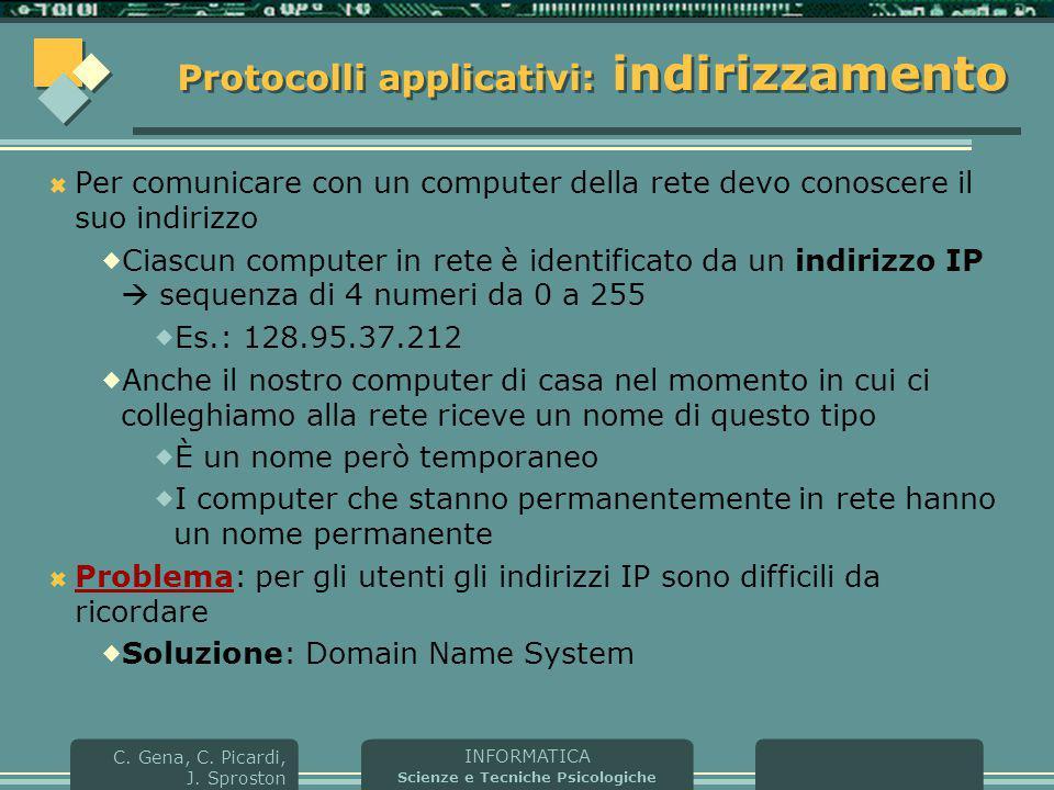 Protocolli applicativi: indirizzamento