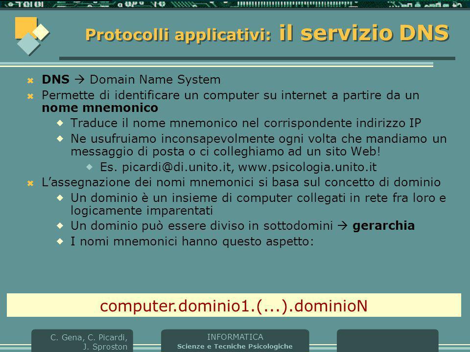 Protocolli applicativi: il servizio DNS