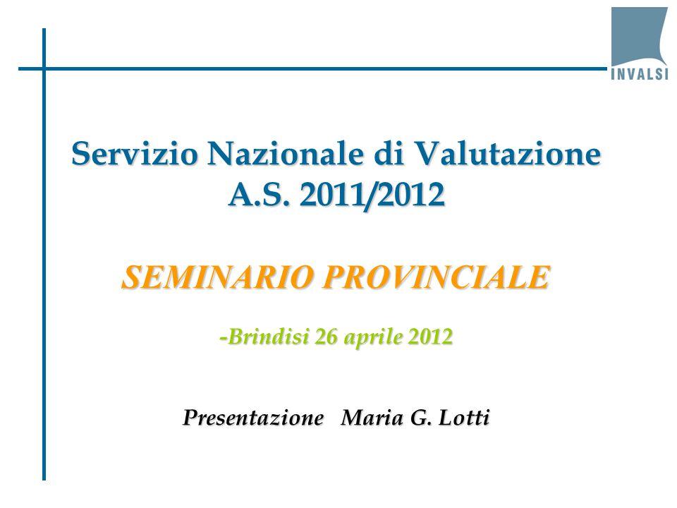 Servizio Nazionale di Valutazione A.S. 2011/2012 SEMINARIO PROVINCIALE