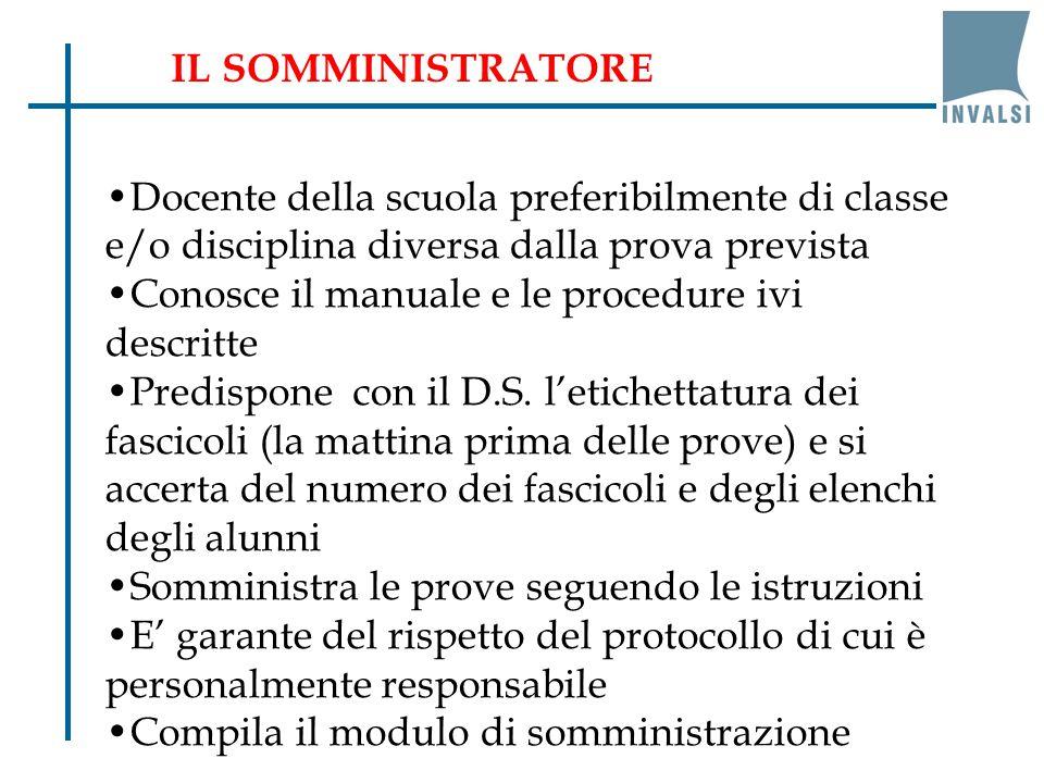 IL SOMMINISTRATORE Docente della scuola preferibilmente di classe e/o disciplina diversa dalla prova prevista.