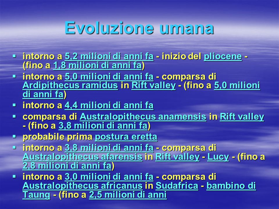 Evoluzione umana intorno a 5,2 milioni di anni fa - inizio del pliocene - (fino a 1,8 milioni di anni fa)