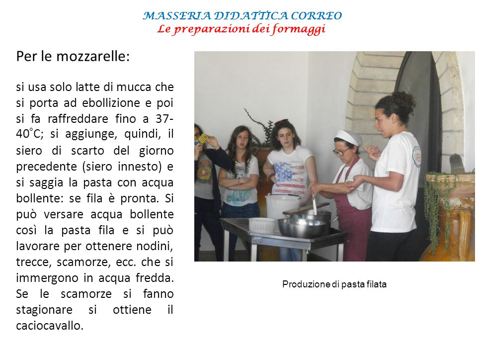 MASSERIA DIDATTICA CORREO Le preparazioni dei formaggi