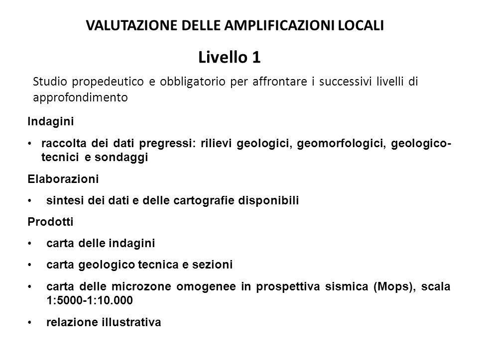 Livello 1 VALUTAZIONE DELLE AMPLIFICAZIONI LOCALI