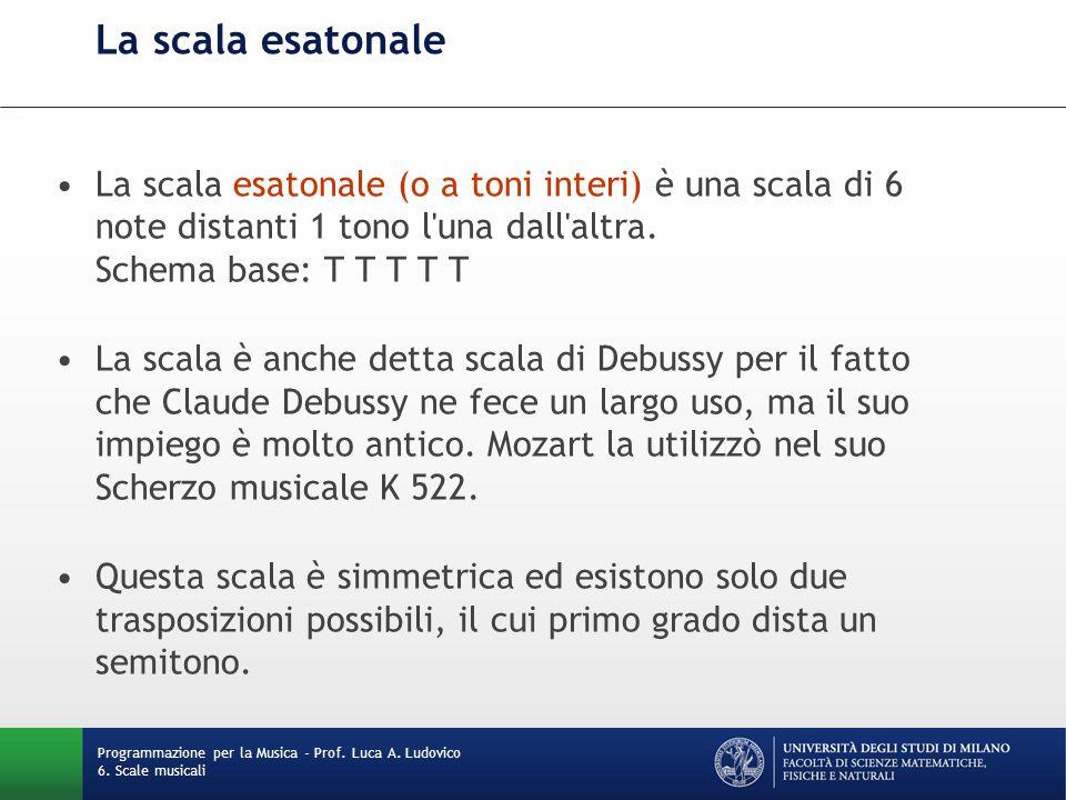 La scala esatonale La scala esatonale (o a toni interi) è una scala di 6 note distanti 1 tono l una dall altra. Schema base: T T T T T.