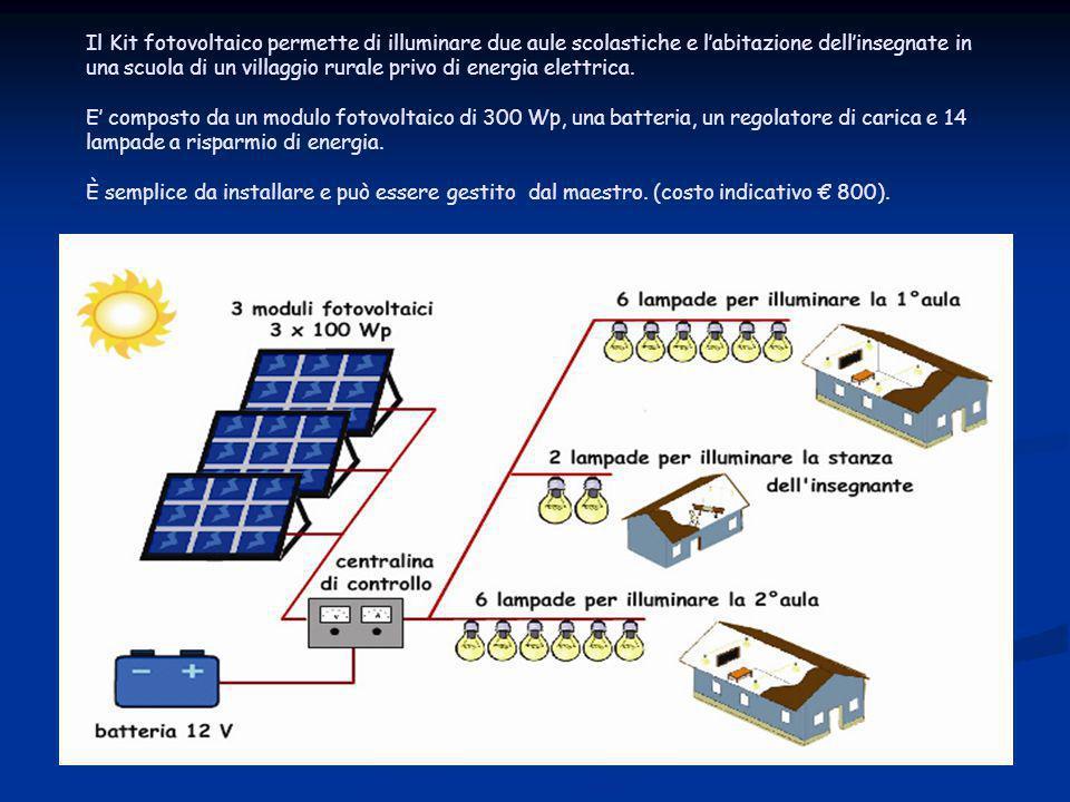 Il Kit fotovoltaico permette di illuminare due aule scolastiche e l'abitazione dell'insegnate in una scuola di un villaggio rurale privo di energia elettrica.