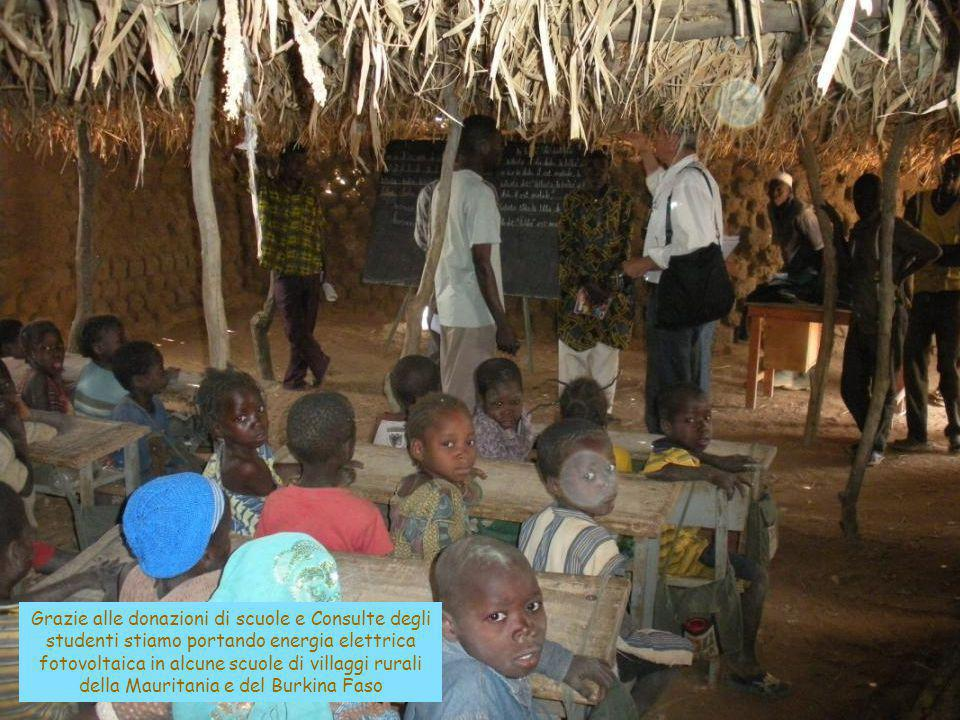 Grazie alle donazioni di scuole e Consulte degli studenti stiamo portando energia elettrica fotovoltaica in alcune scuole di villaggi rurali della Mauritania e del Burkina Faso