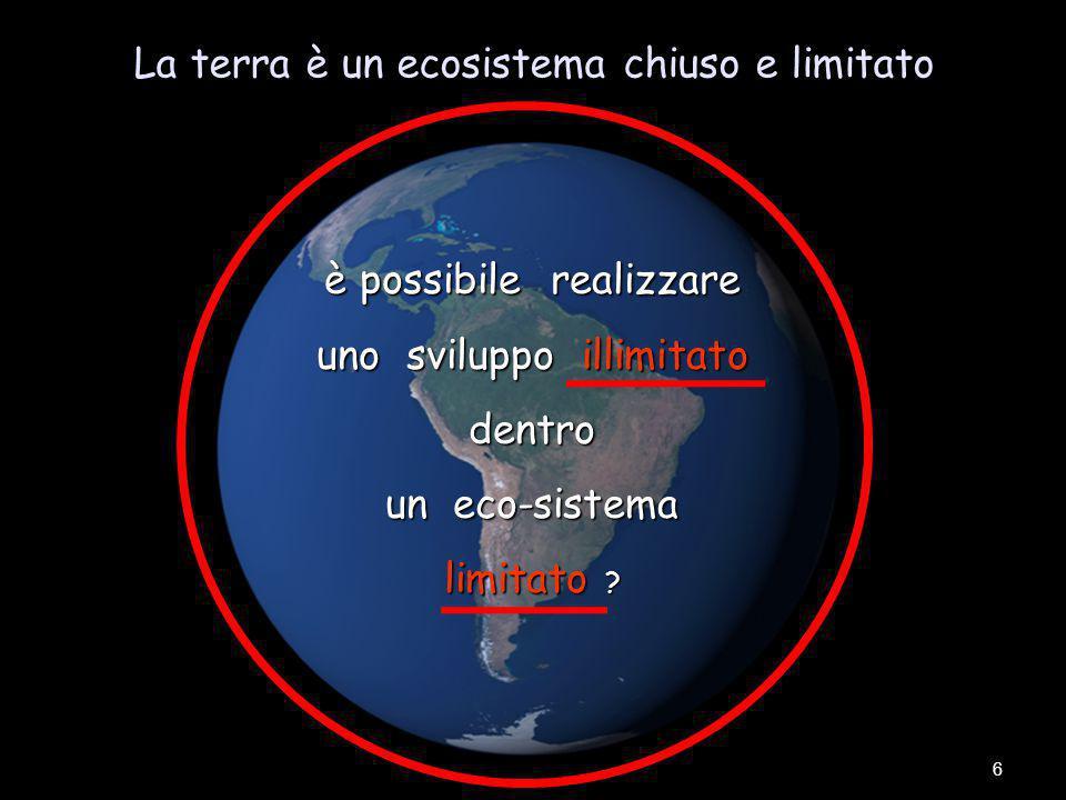 La terra è un ecosistema chiuso e limitato