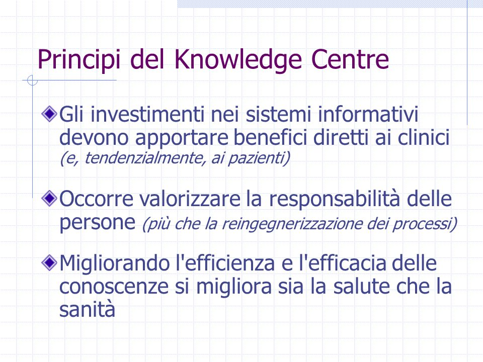 Principi del Knowledge Centre