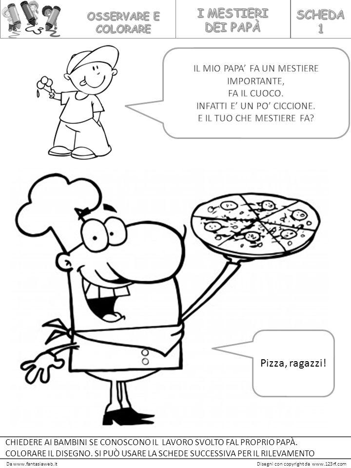 I MESTIERI SCHEDA DEI PAPÀ 1 Pizza, ragazzi! OSSERVARE E COLORARE