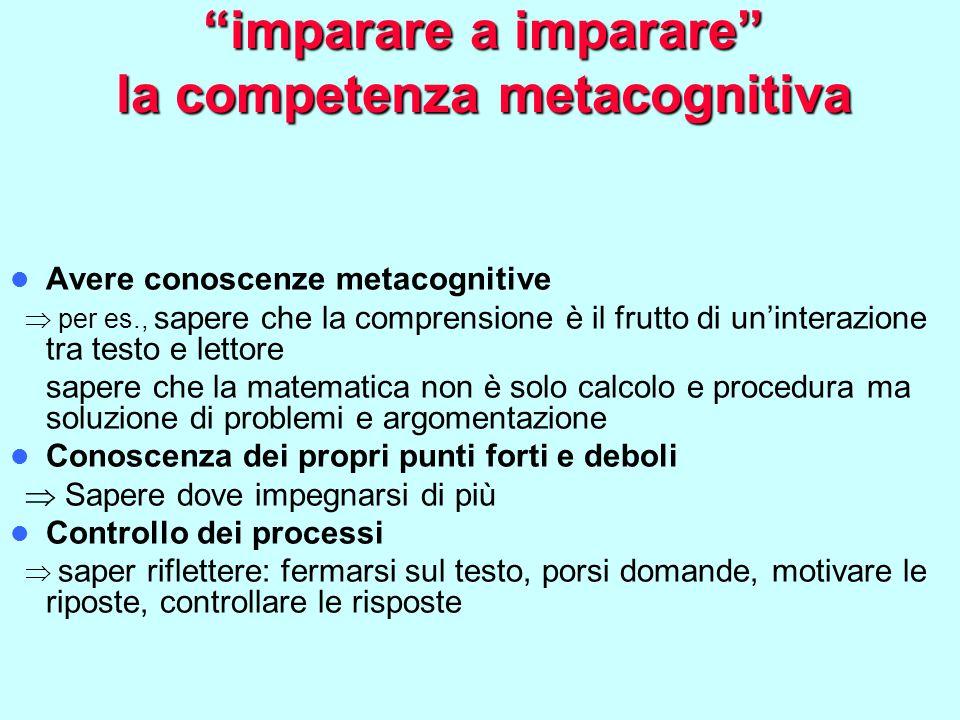 imparare a imparare la competenza metacognitiva