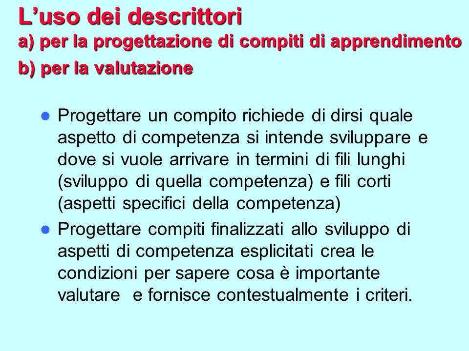 L'uso dei descrittori a) per la progettazione di compiti di apprendimento b) per la valutazione