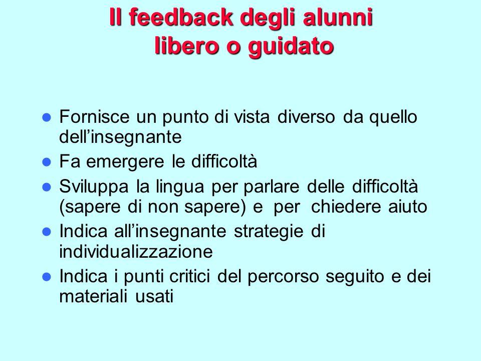 Il feedback degli alunni libero o guidato