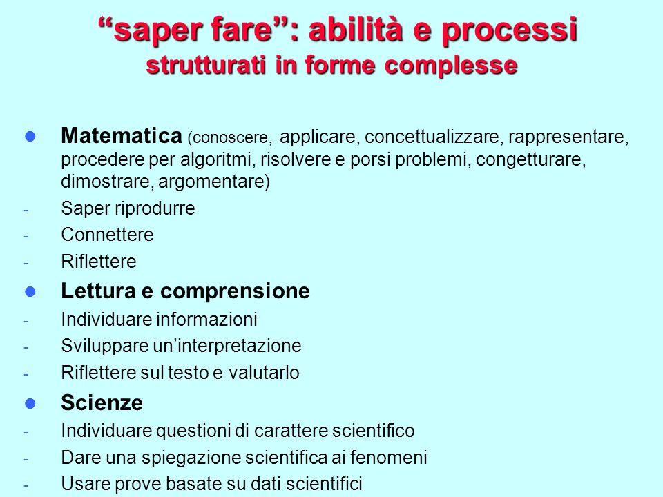 saper fare : abilità e processi strutturati in forme complesse