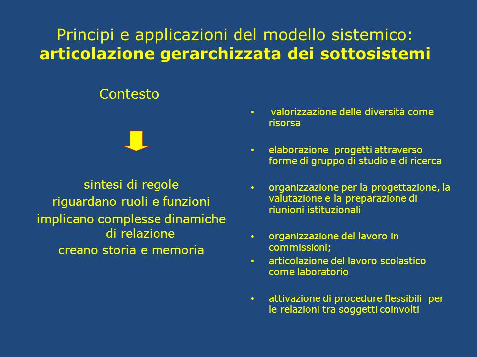 Principi e applicazioni del modello sistemico: articolazione gerarchizzata dei sottosistemi
