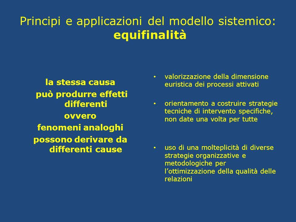 Principi e applicazioni del modello sistemico: equifinalità