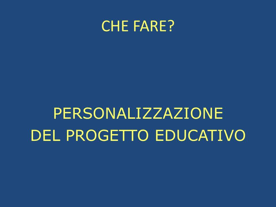 PERSONALIZZAZIONE DEL PROGETTO EDUCATIVO