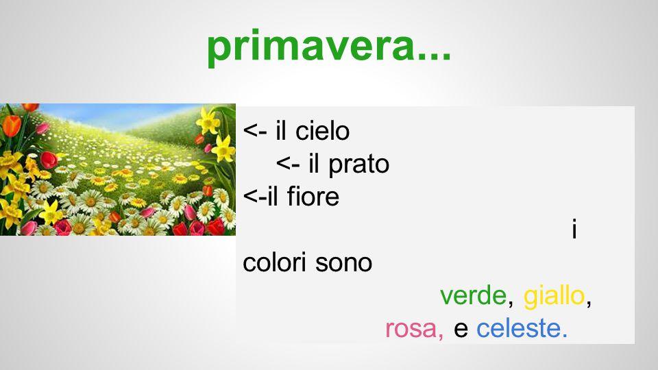 primavera... <- il cielo <- il prato <-il fiore i colori sono