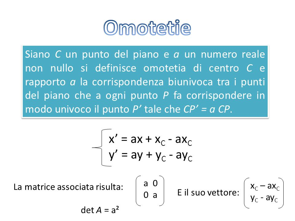Omotetie x' = ax + xC - axC y' = ay + yC - ayC