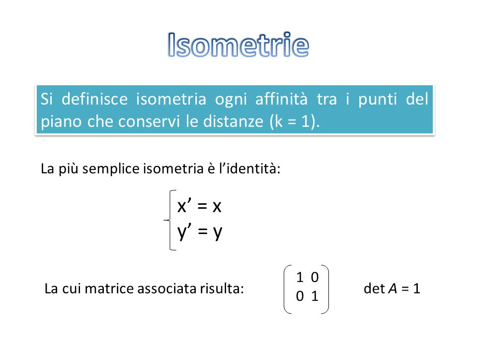Isometrie Si definisce isometria ogni affinità tra i punti del piano che conservi le distanze (k = 1).