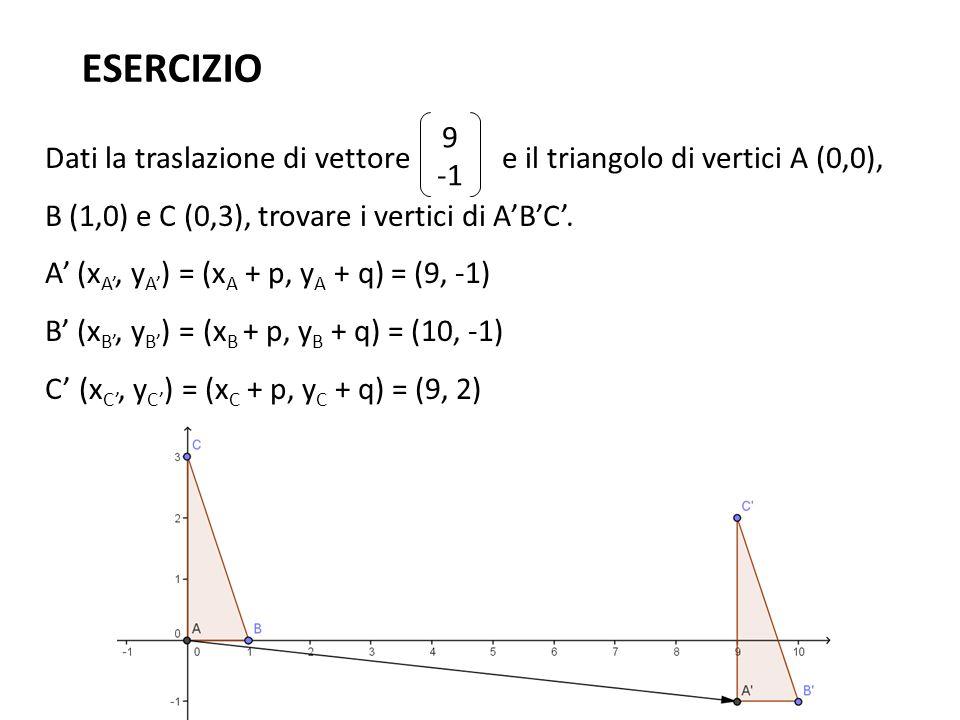 ESERCIZIO 9. -1. Dati la traslazione di vettore e il triangolo di vertici A (0,0), B (1,0) e C (0,3), trovare i vertici di A'B'C'.