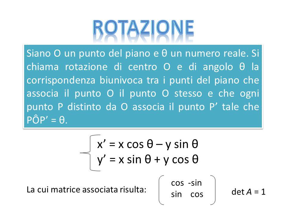 Rotazione x' = x cos θ – y sin θ y' = x sin θ + y cos θ