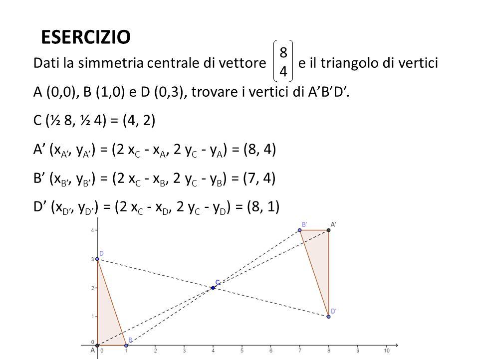ESERCIZIO 8. 4. Dati la simmetria centrale di vettore e il triangolo di vertici A (0,0), B (1,0) e D (0,3), trovare i vertici di A'B'D'.