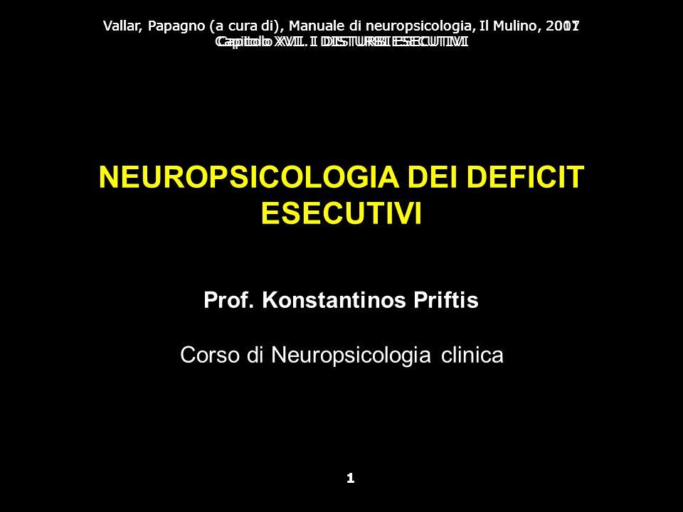 NEUROPSICOLOGIA DEI DEFICIT ESECUTIVI Prof