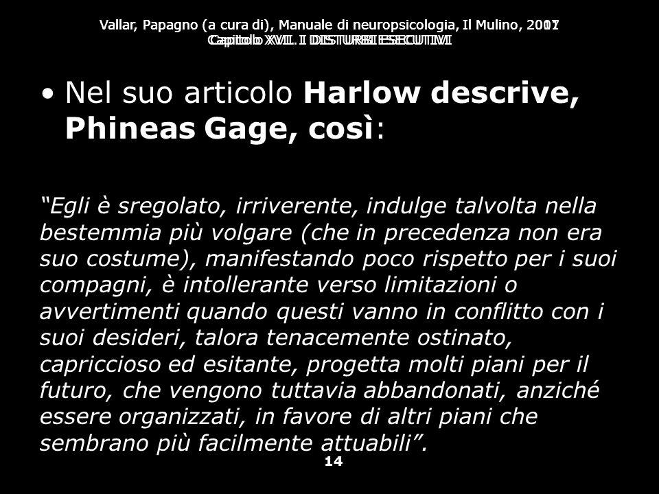 Nel suo articolo Harlow descrive, Phineas Gage, così:
