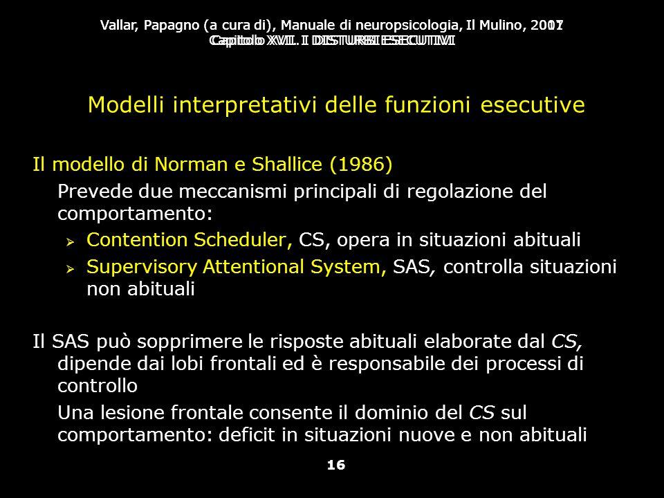 Modelli interpretativi delle funzioni esecutive